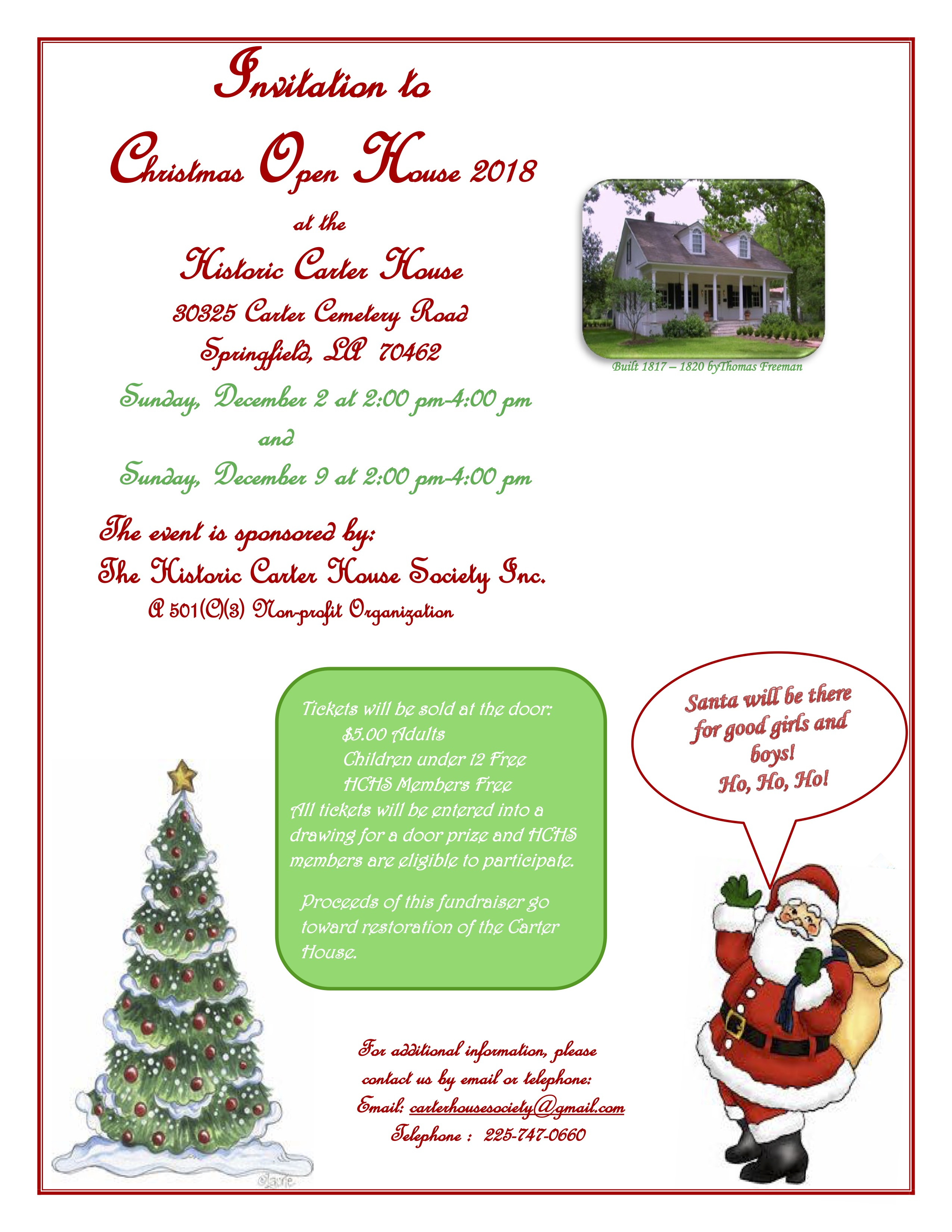 Christmas Open House.Invitation To Christmas Open House Historic Carter House